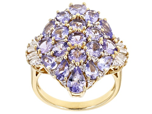 Photo of 4.34ctw Tanzanite With .46ctw White Zircon 18k Yellow Gold Over Sterling Silver Ring - Size 7