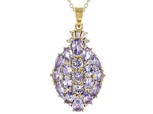 Photo of 4.34ctw Tanzanite With .25ctw White Zircon 18k Yellow Gold Over Silver Pendant With Chain