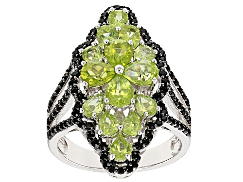 Photo of 2.67ctw Pear Shape Manchurian Peridot™ and .60ctw Round Black Spinel Rhodium Over Silver Ring - Size 6