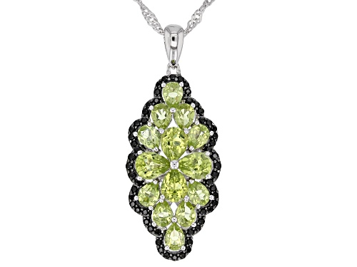 Photo of 2.67ctw Pear Shape Manchurian Peridot™ and .30ctw Black Spinel Rhodium Over Silver Pendant W/Chain