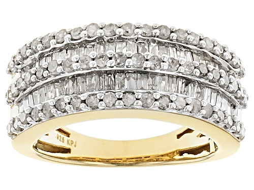 Photo of Engild™ 1.00ctw Round And Baguette White Diamond 14k Yellow Gold Over Sterling Silver Band Ring - Size 8