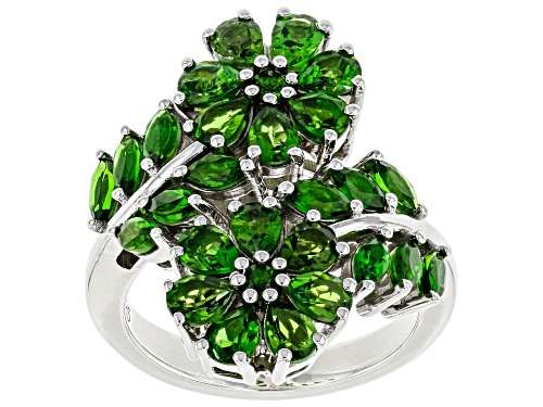 Photo of 2.97ctw Mixed Shape Chrome Diopside Rhodium Over Silver Flower Bypass Ring - Size 7
