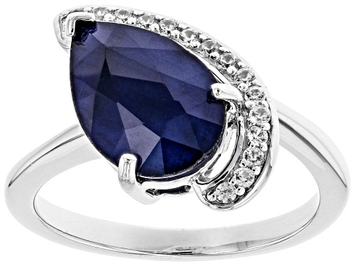 Photo of 3.06ct Pear Shape Blue Sapphire with .12ctw Round White Zircon Rhodium Over Sterling Silver Ring - Size 8