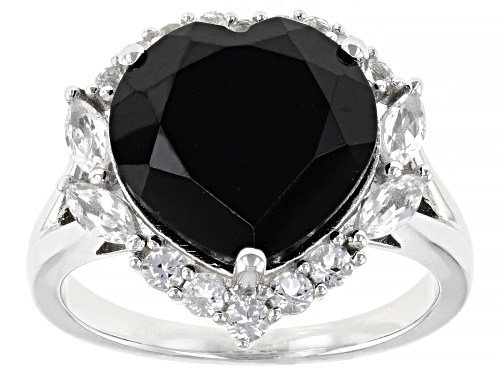 Photo of 6.35ct Heart Shape Black Spinel With .67ctw White Topaz Rhodium Over Sterling Silver Ring - Size 8