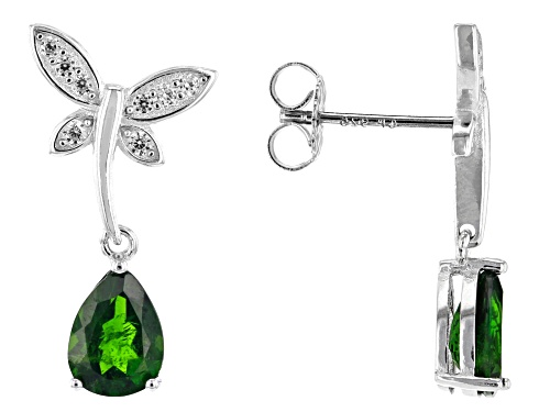 Photo of 1.89ctw chrome diopside with 0.24ctw zircon rhodium over sterling silver butterfly earrings