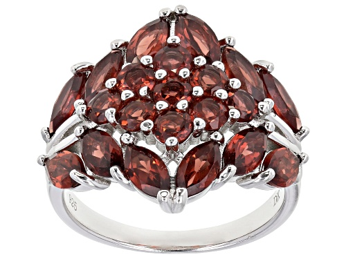 Photo of 4.55ctw Marquise & Round Vermelho Garnet™ Rhodium Over Sterling Silver Ring - Size 7