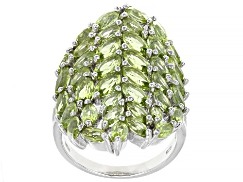 Photo of 5.85ctw Marquise Manchurian Peridot™ Rhodium Over Sterling Silver Ring - Size 7