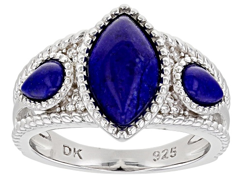 Photo of 12x7mm Marquise And 6x4mm Pear Shape Lapis Lazuli With .09ctw White Zircon Rhodium Over Silver Ring - Size 7