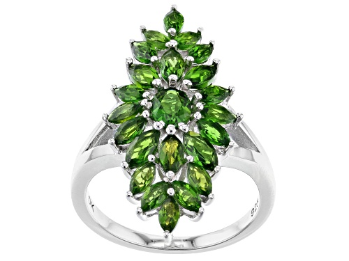 Photo of 2.43ctw Oval And Marquise Chrome Diopside Rhodium Over Sterling Silver Cluster Ring - Size 7