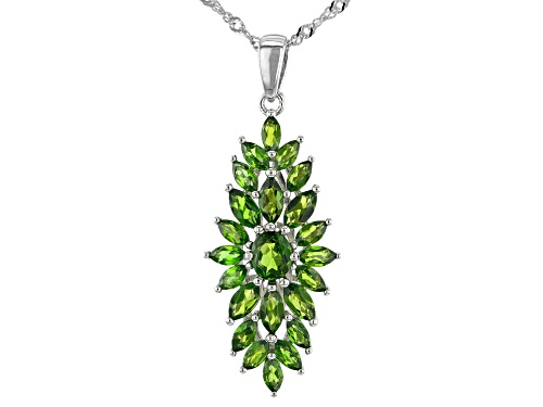 Photo of 2.44ctw Oval And Marquise Chrome Diopside Rhodium Over Silver Pendant With Chain