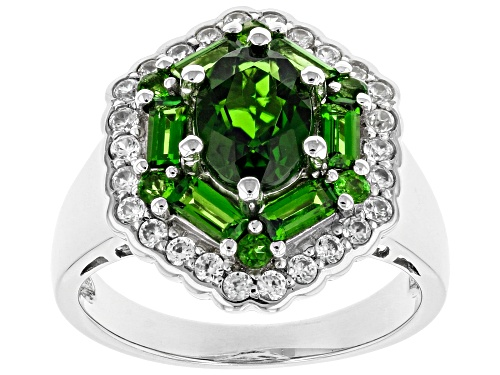 Photo of 1.95cw Mixed Shape Chrome Diopside and .46ctw Round White Zircon Rhodium Over Silver Ring - Size 9