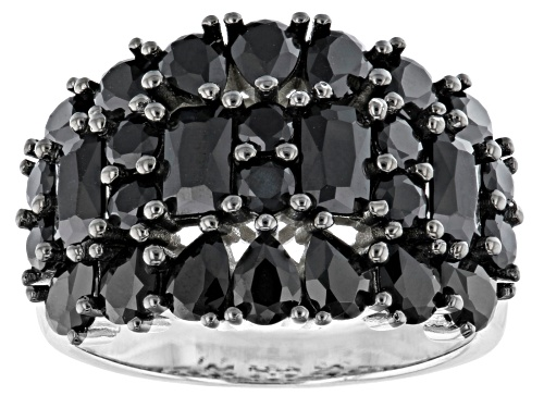Photo of 3.70ctw Mixed Shape Black Spinel Rhodium Over Sterling Silver Cluster Band Ring - Size 8