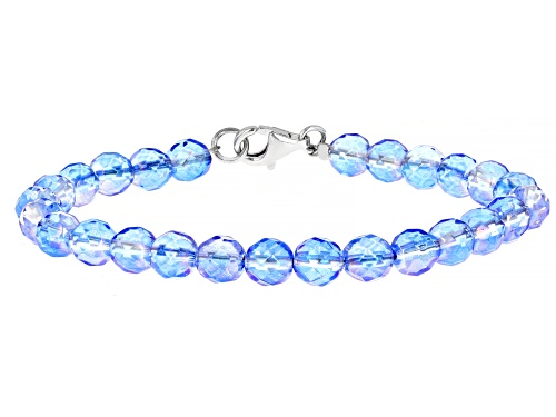 Photo of 6mm Round Iridescent Blue Quartz Bead Strand, Rhodium Over Sterling Silver Bracelet. - Size 8