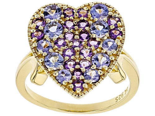 "Photo of 1.47ctw Round Tanzanite & Round African Amethyst 18k Yellow Gold Over Sterling Silver ""Heart"" Ring - Size 7"