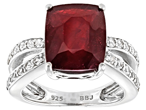 Photo of 6.80CT CUSHION MAHALEO(R) RUBY WITH 1.02CTW WHITE ZIRCON RHODIUM OVER STERLING SILVER RING - Size 8