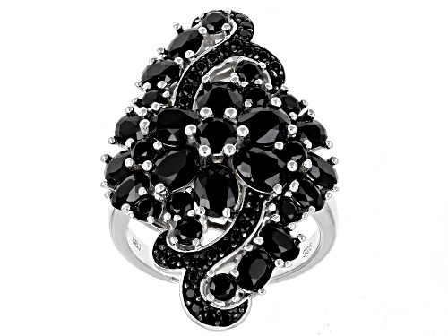 Photo of 6.05ctw Oval and Round Black Spinel Rhodium Over Sterling Silver Ring - Size 7