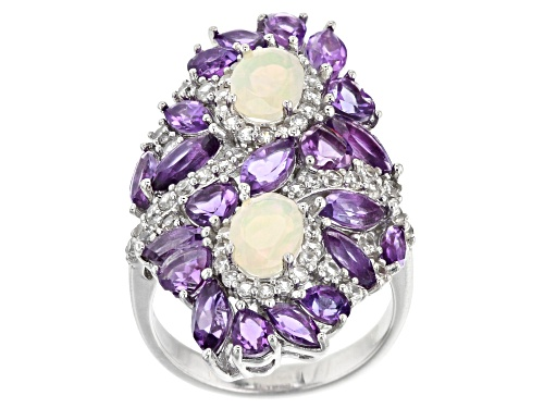 Photo of .77ctw Oval Ethiopian Opal, 3.39ctw Amethyst & .98ctw White Zircon Rhodium Over Silver Bypass Ring - Size 8