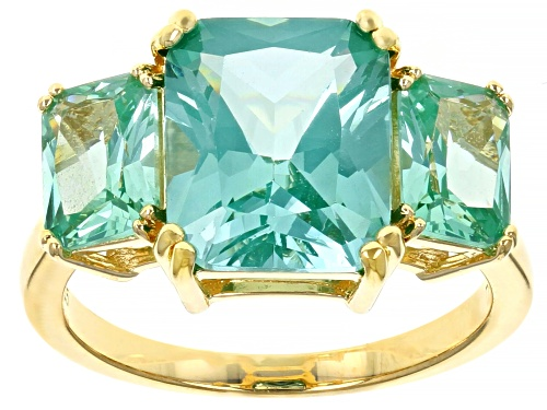 Photo of 6.10CTW Emerald Cut Lab Created Green Spinel 18k Yellow Gold Over Silver 3-Stone Ring - Size 9