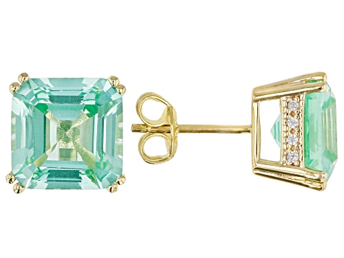 Photo of 7.31ctw Asscher Cut Lab Created Green Spinel, .16ctw White Zircon 18k Gold Over Silver Stud Earrings