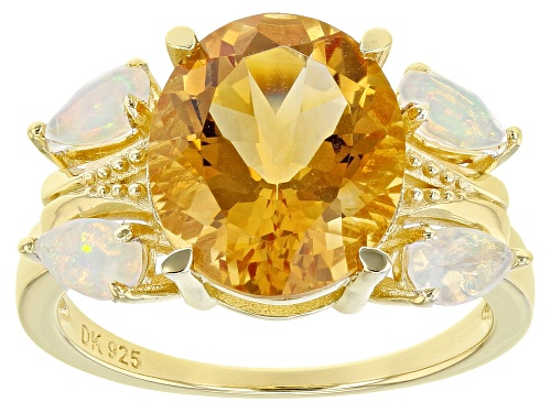 Photo of 4.00ct Oval Golden Citrine And .41ctw Pear Shape Ethiopian Opal 18k Gold Over Silver Ring - Size 7