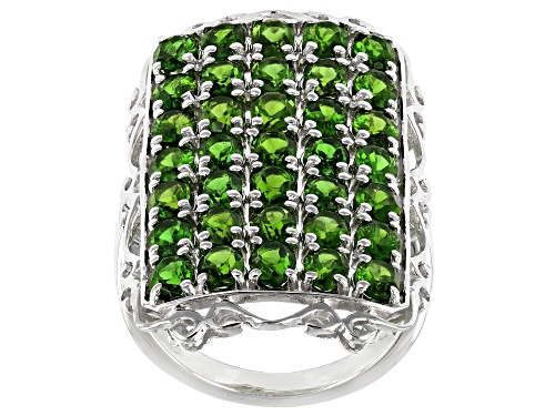 Photo of 5.95ctw Oval Chrome Diopside Rhodium Over Sterling Silver Cocktail Ring - Size 7