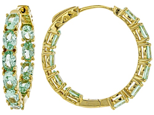 Photo of 8.50ctw Oval Lab Created Green Spinel 18k Gold Over Silver Inside/Outside Hoop Earrings
