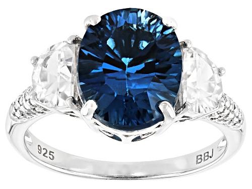 Photo of 4.68ctw LONDON BLUE TOPAZ & WHITE ZIRCON,.04ctw WHITE DIAMOND ACCENT RHODIUM OVER SILVER RING - Size 10