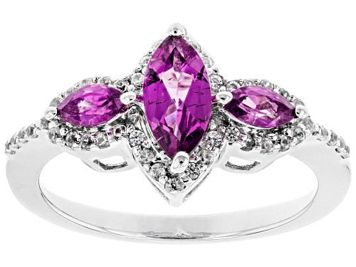 Photo of .83ctw Marquise Raspberry Color Rhodolite and .31ctw White Zircon Rhodium Over Silver Ring - Size 8