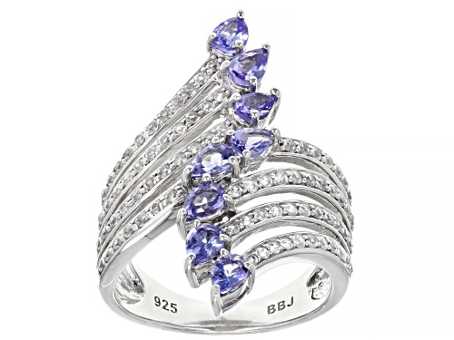 Photo of 1.16ctw pear shape Tanzanite with .61ctw Round White Zircon Rhodium Over Sterling Silver Ring - Size 7