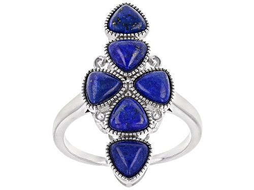 Photo of 5mm Trillion Cabochon Lapis Lazuli Rhodium Over Sterling Silver Elongated Ring - Size 7