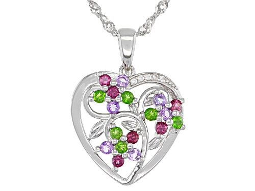 "Photo of .62ctw Round Multi-Gemstone Rhodium Over Sterling Silver ""Heart Shape"" Pendant With Chain"