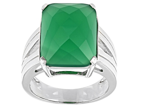 Photo of 16x12mm Checkerboard Cut Green Onyx Rhodium Over Sterling Silver Solitaire Ring - Size 8
