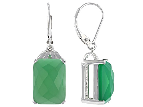 Photo of 14x10mm Checkerboard Cut Green Onyx Rhodium Over Sterling Silver Earrings