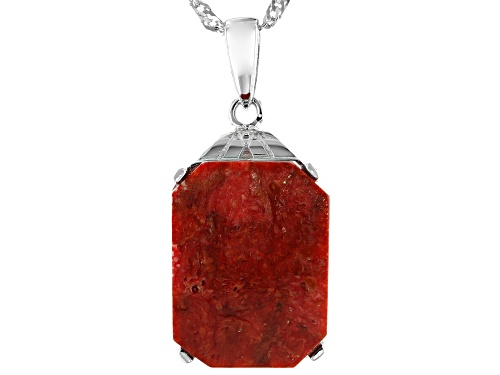 Photo of 16x12mm Rectangular Octagonal Sponge Coral Rhodium Over Sterling Silver Pendant With Chain