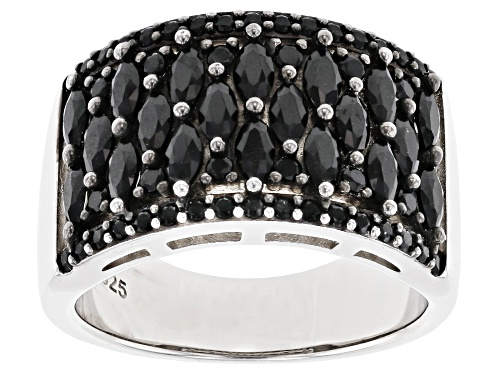 Photo of 1.89ctw Marquise And Round Black Spinel Rhodium Over Sterling Silver Band Ring - Size 8