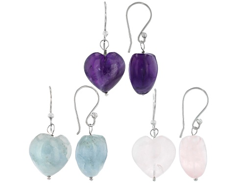Photo of 15mm Rose Quartz, African Amethyst & Dreamy Aquamarine Rhodium Over Silver Earrings Set of 3