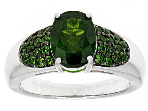 1.67CT Oval and .33CTW round chrome diopside rhodium over sterling silver ring - Size 7