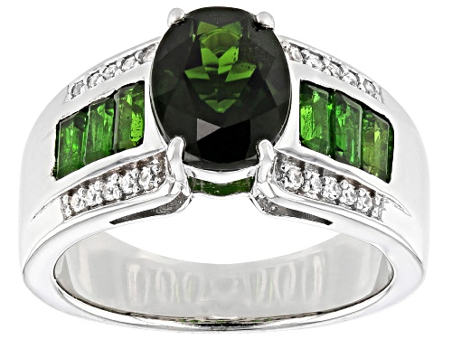 Photo of 2.29ctw mixed shape Russian chrome diopside with .11ctw white zircon rhodium over silver ring - Size 7