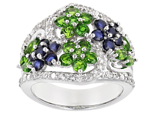 1.19ctw Chrome Diopside With .94ctw Blue Sapphire And .57ctw Zircon Rhodium Over Silver Ring - Size 7