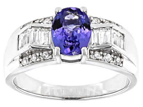 Photo of 1.06CT OVAL TANZANITE WITH .79CTW WHITE ZIRCON RHODIUM OVER STERLING SILVER RING - Size 9