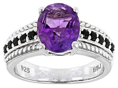 Photo of 2.05CT AFRICAN AMETHYST WITH 0.21CTW BLACK SPINEL RHODIUM OVER STERLING SILVER RING - Size 7