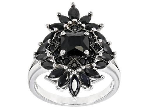 Photo of 2.19CTW SQUARE CUSHION, ROUND AND  MARQUISE BLACK SPINEL RHODIUM OVER STERLING SILVER RING - Size 7