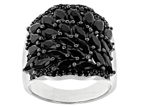 Photo of 2.79ctw Marquise and Round Black Spinel Rhodium Over Sterling Silver Ring - Size 7