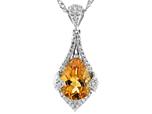 Photo of 3.95ct Pear Shape Madeira Citrine With .67ctw Round White Zircon Rhodium Over Silver Pendant W/Chain