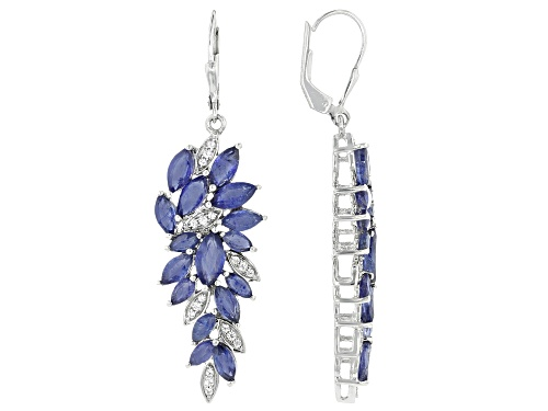 Photo of 9.42ctw Marquise Mahaleo(R) Blue Sapphire & .33ctw White Zircon Rhodium Over Silver Dangle Earrings