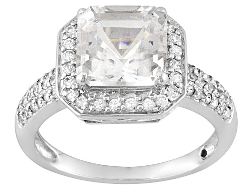 Photo of 2.20ct Asscher Cut Danburite With .31ctw Round White Zircon 10k White Gold Ring - Size 12