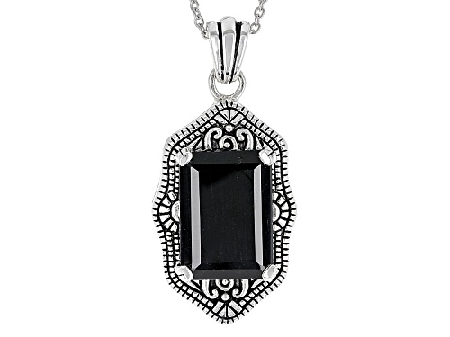 Photo of 15.32ct Emerald Cut Black Austrailian Sapphire Solitaire Sterling Silver Pendant With Chain