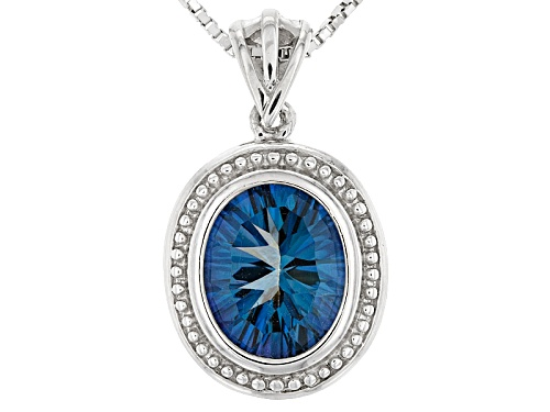 Photo of 2.39ct Oval Quantum Cut(R) Blue Petalite Solitaire Sterling Silver  Pendant With Chain