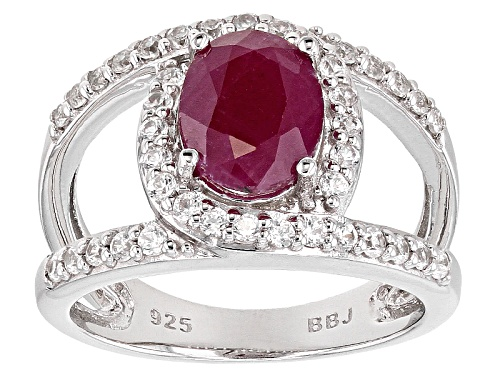 Photo of 1.44ct Oval Mahaleo® Ruby With .71ctw Round White Zircon Sterling Silver Ring - Size 7