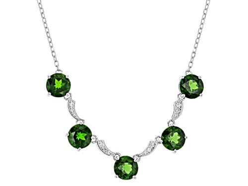 Photo of 5.00ctw Round Russian Chrome Diopside With .16ctw Round White Zircon Sterling Silver Necklace - Size 18